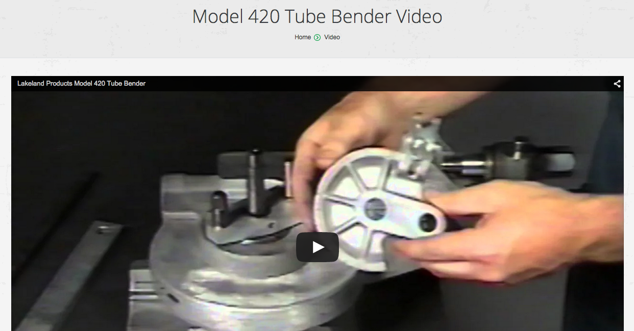 f9a046660 Lakeland Products | Model 420 Tube Bender Video - Lakeland Products
