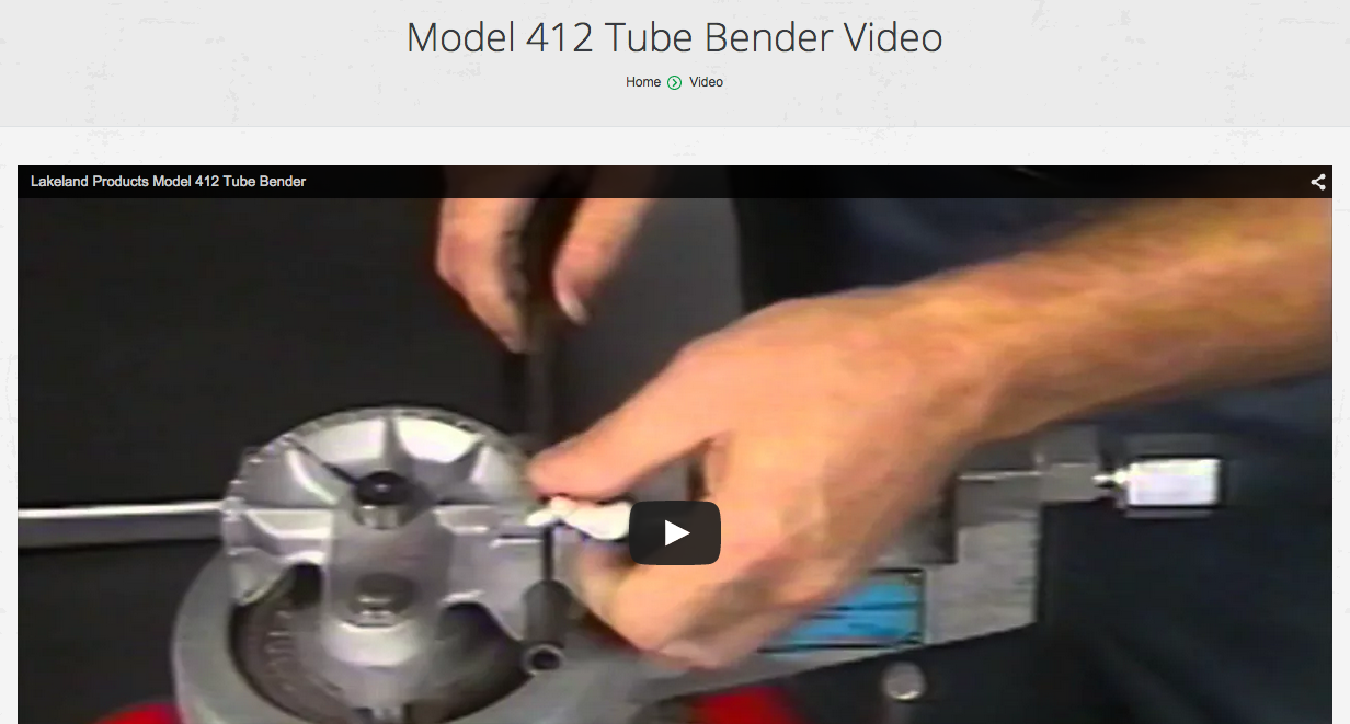 0d0b52286 Lakeland Products | Model 412 Tube Bender Video - Lakeland Products